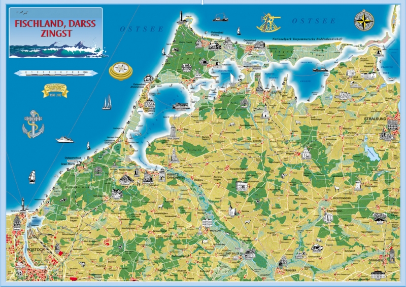 Fischland Darß Zingst Karte.Verlagsgruppe Grünes Herz Ferienkarte Fischland Darß Zingst Gerollt